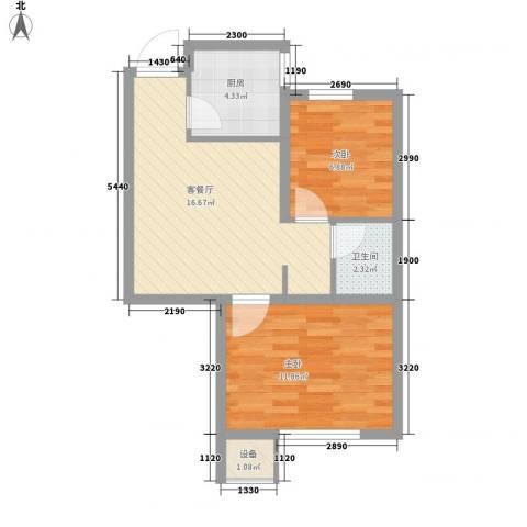 如意小区2室1厅1卫1厨62.00㎡户型图
