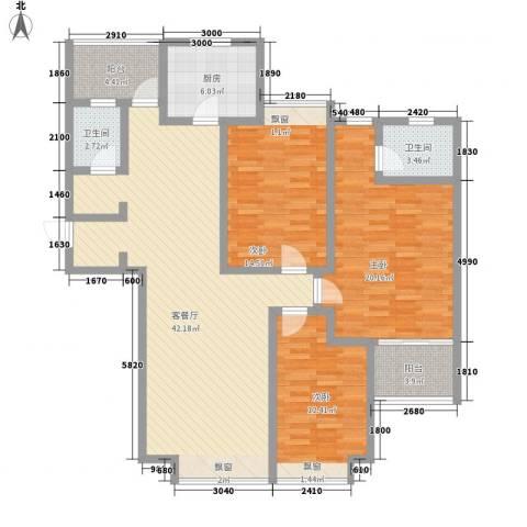 国信新城三期3室1厅2卫1厨158.00㎡户型图