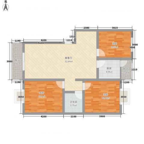 南峰花园3室1厅1卫1厨117.00㎡户型图