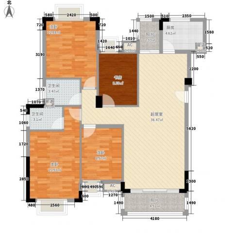 景湖蓝郡4室0厅2卫1厨145.00㎡户型图
