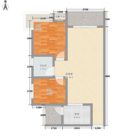 汇泽・蓝海湾2室0厅1卫1厨89.00㎡户型图
