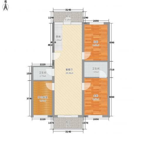 绿海田园2室1厅2卫0厨96.00㎡户型图