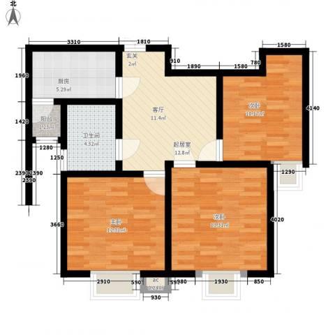 亿城山水颐园3室0厅1卫1厨97.00㎡户型图