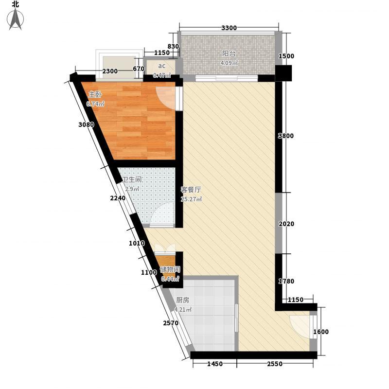 东城攻略60.72㎡东城攻略户型图1号楼A8'型1室2厅1卫1厨户型1室2厅1卫1厨