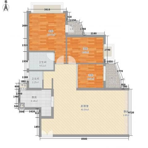 碧水明筑3室0厅2卫1厨130.00㎡户型图