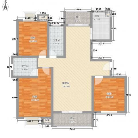 兴源家园3室1厅2卫1厨135.00㎡户型图
