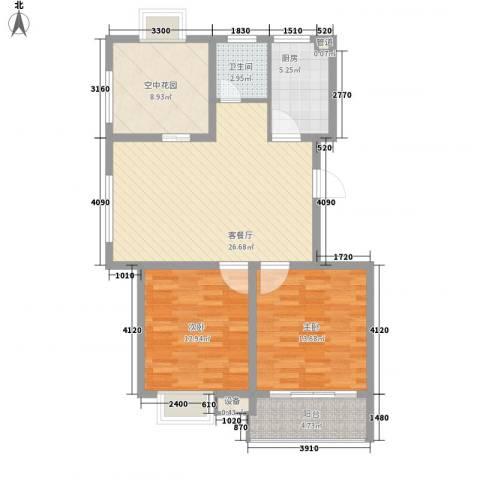 兴源家园2室1厅1卫1厨108.00㎡户型图