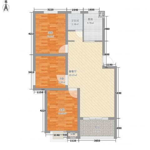 兴源家园3室1厅1卫1厨108.00㎡户型图