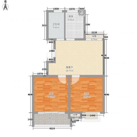兴源家园2室1厅1卫1厨94.00㎡户型图