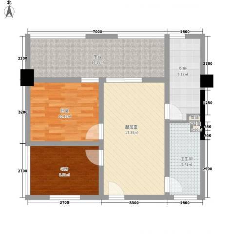 华凤国际1室0厅1卫1厨81.00㎡户型图