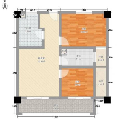华凤国际2室0厅1卫1厨87.00㎡户型图