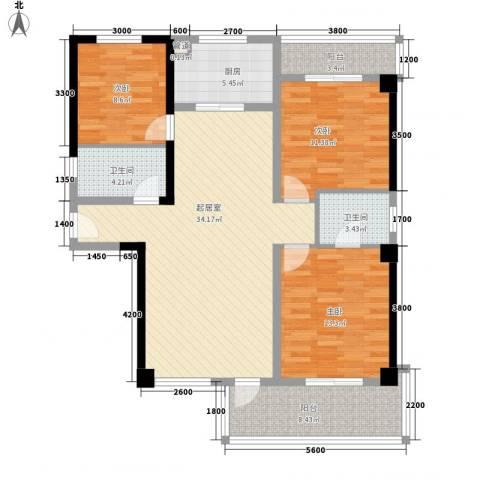 庐州小区3室0厅2卫1厨95.00㎡户型图
