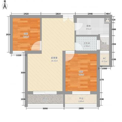 新洲人家2室0厅1卫1厨63.00㎡户型图