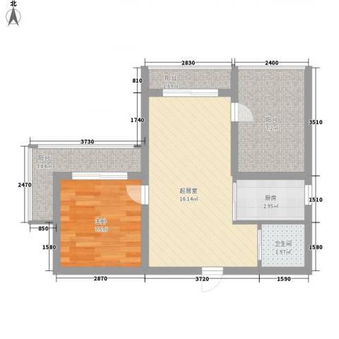 城市假日1室0厅1卫1厨61.00㎡户型图