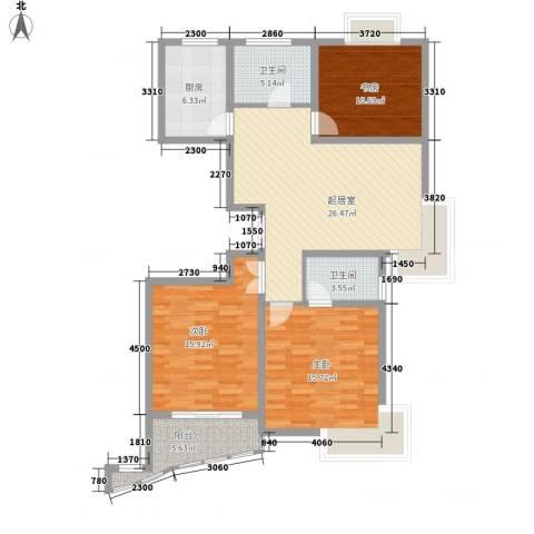 新洲人家3室0厅2卫1厨128.00㎡户型图