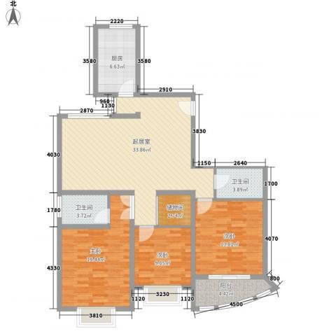 新洲人家3室0厅2卫1厨135.00㎡户型图