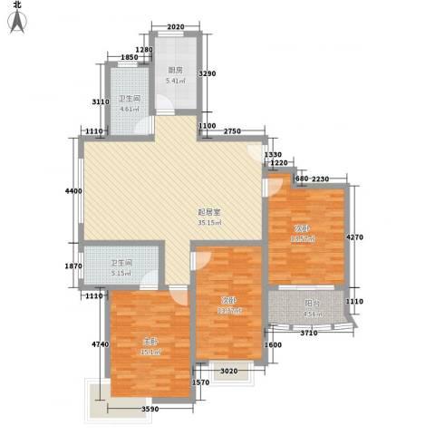 新洲人家3室0厅2卫1厨138.00㎡户型图