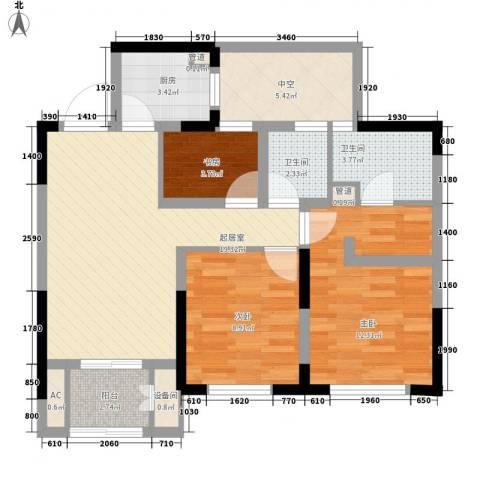 宝华家天下3室0厅2卫1厨95.00㎡户型图