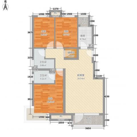 金融街・金色漫香郡3室0厅2卫1厨113.00㎡户型图