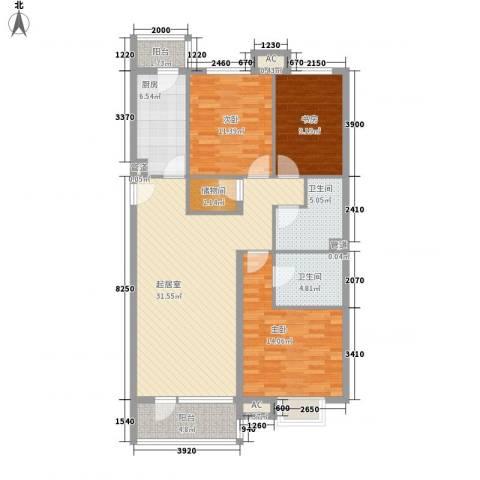 金融街・金色漫香郡3室0厅2卫1厨117.00㎡户型图