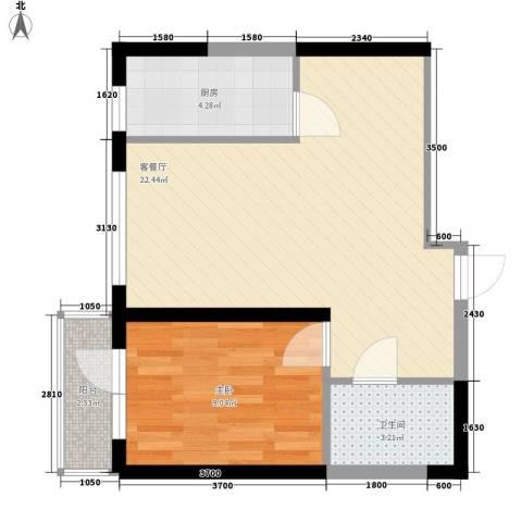 中交 金海湾1室1厅1卫1厨58.00㎡户型图