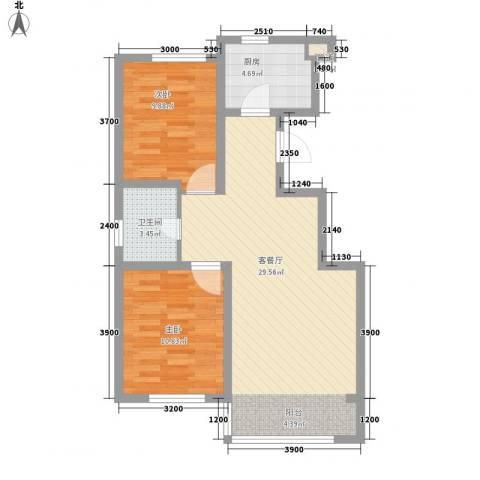 汇水湾2室1厅1卫1厨87.00㎡户型图