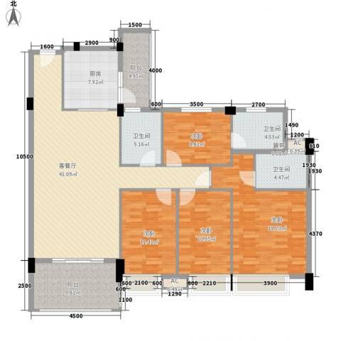 新世界花园4室1厅3卫1厨138.00㎡户型图