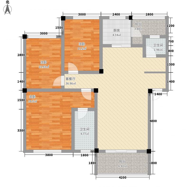 丰尚国际C户型 三房两厅两卫 3室2厅2卫1厨 116.58㎡
