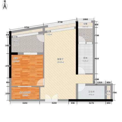 越秀・星汇云锦1室1厅1卫1厨82.00㎡户型图