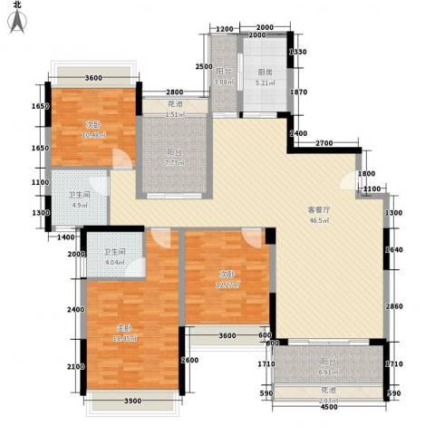 松山湖鹭栖湖3室1厅2卫1厨157.00㎡户型图
