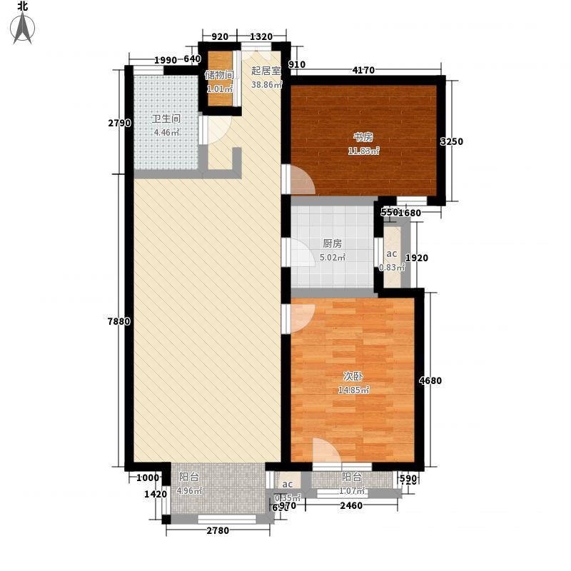乐成国际2#标准层B户型2室2厅1卫1厨