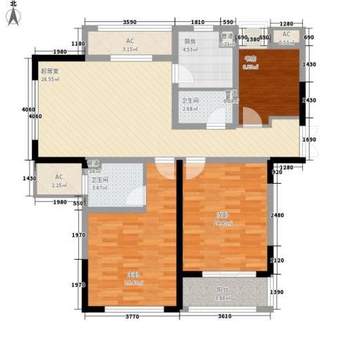 观澜盛世3室0厅2卫1厨124.00㎡户型图
