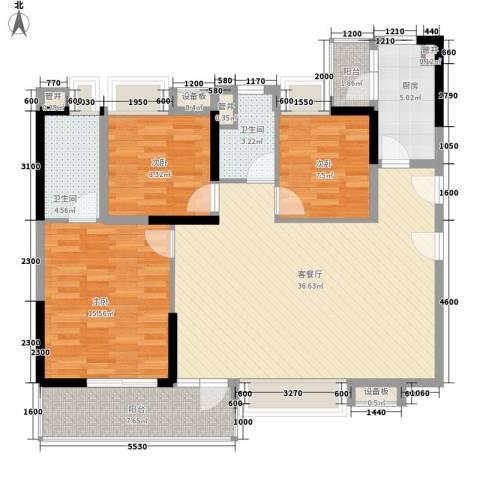 万科金域蓝湾3室1厅2卫1厨105.05㎡户型图