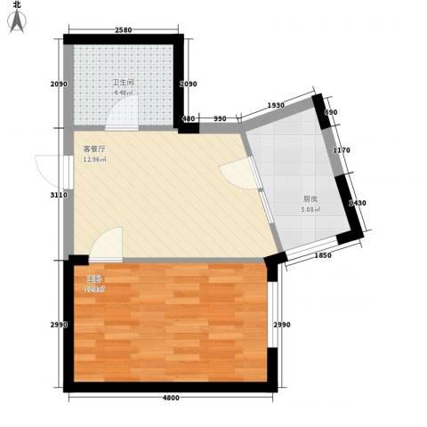 中交 金海湾1室1厅1卫1厨51.00㎡户型图