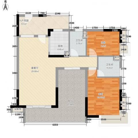 万科金域蓝湾2室1厅2卫1厨105.60㎡户型图