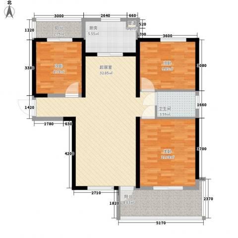 华邦世贸城3室0厅1卫1厨110.00㎡户型图