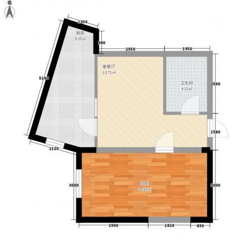 中交 金海湾1室1厅1卫1厨59.00㎡户型图