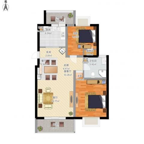 越湖名邸2室1厅1卫1厨112.00㎡户型图
