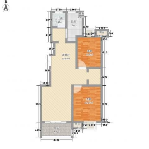金茂国际2室1厅1卫1厨106.00㎡户型图