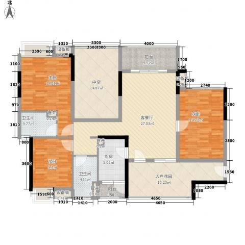 万科金域蓝湾3室1厅2卫1厨133.14㎡户型图