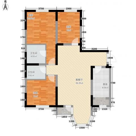 珠江新城二期3室1厅2卫1厨130.00㎡户型图