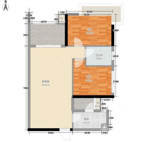 城市假日2室0厅1卫1厨86.00㎡户型图