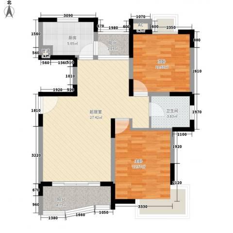 蔚蓝城市花园2室0厅1卫1厨97.00㎡户型图