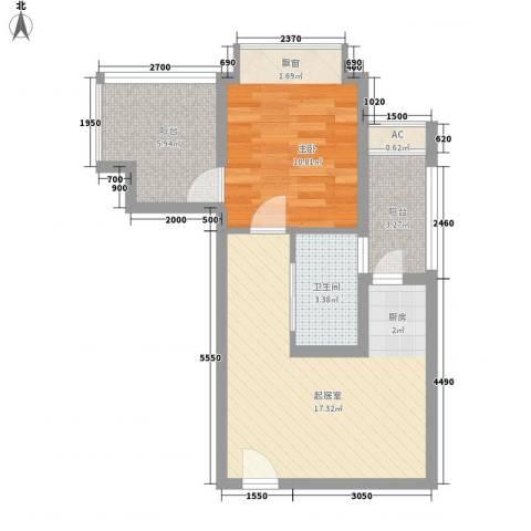 城市假日1室0厅1卫0厨50.00㎡户型图