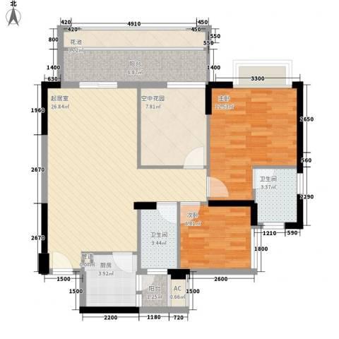 东城四季2室0厅2卫1厨90.00㎡户型图