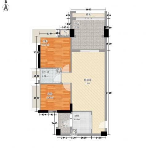 东城四季2室0厅1卫1厨74.00㎡户型图