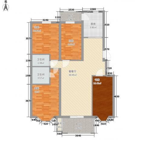 北岸明珠4室1厅2卫1厨134.00㎡户型图
