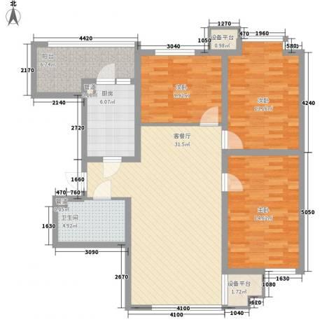 阳光绿景3室1厅1卫1厨129.00㎡户型图