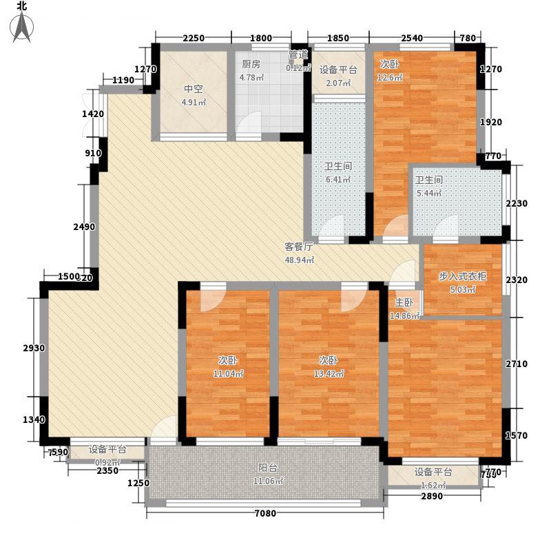 山湾水榭207.00㎡山湾水榭户型图高层G户型4室2厅2卫1厨户型4室2厅2卫1厨