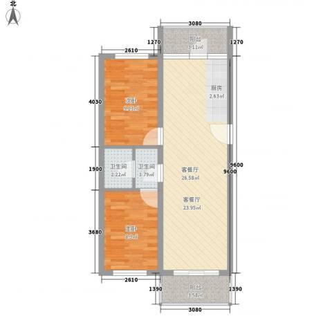 绿海田园2室1厅2卫0厨79.00㎡户型图